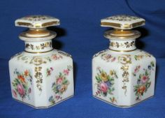1 DAY AUCTION - Antique 19thC Pair Sevres / Limoges Floral Painted Porcelain Perfume Bottles