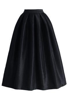 La Diva Pleated Maxi Full Skirt in Black - Retro, Indie and Unique Fashion