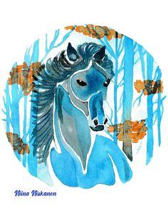 @fairychamber posted to Instagram: Blue horse in the autumn woods / sininen yksisarvinen syysmetsässä. Watercolor 8 x 11, A4, original for sale #autumn #autumnal #horse #horses #horseart #horsepainting #hevonen #syksy #syksyinen #horseillustration #fantasyart #fantasyhorse #fantasy #fairy #horseofinstagram #horselove #fall #instahorses #luonto #fairytale #magical #ilovemyhorse #magic #fairies #horsegirl #autumntime #horsesofinstagram #autumnsky #maisema #horsestagram Blue Horse, Horse Love, Horse Girl, Horse Illustration, Blue Art, Fantasy Art, Fairy Tales, Moose Art, Original Paintings