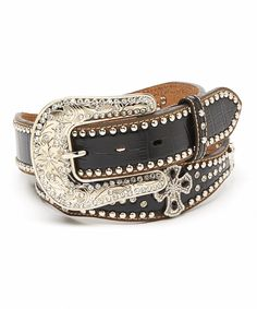 Look what I found on #zulily! M & F Western Products, Inc. Black & Brown Crocodile-Embossed Cross Leather Belt by M & F Western Products, Inc. #zulilyfinds