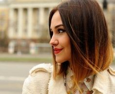 Long bob with ombre hair color