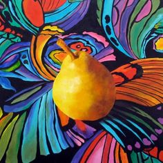 Psychedelic Pear, Still Life Art Abstract Realism Pear Painting Original Oil Painting by Marina Petro, painting by artist Marina Petro