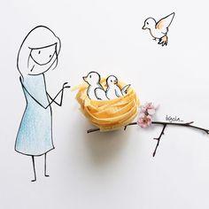Fashionality - Fashion Illustrations discovered by D{reem}Z. L'art Du Fruit, Fruit Art, Art Floral, Art Sketches, Art Drawings, Art Et Nature, Art Du Croquis, Art Mignon, Art Et Illustration