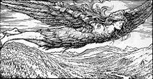 Loki's flight to Jötunheim (1908) by W. G. Collingwood