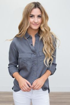 Shop our Double Pocket Button Down Blouse - Charcoal . Featuring a high low hem and a pocket on the front. Free shipping on all US orders!