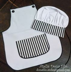 Sewing For Kids, Diy For Kids, Chef Costume, Sewing Bras, Diy Y Manualidades, Hat Tutorial, Cute Aprons, Chef Apron, Kids Apron