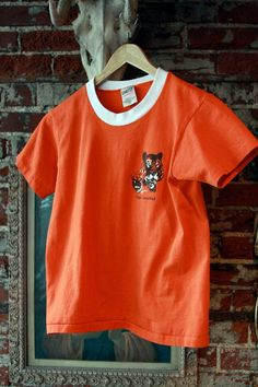 XS/S T Shirt. Orange. Boy Scouts. Ringer. 80s found byLB $14.00