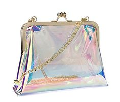New Trending Make Up Bags: Hoxis Clear Transparent PVC Kiss Lock Chain Cross Body Bag Womens Clutch (Hologram). Hoxis Clear Transparent PVC Kiss Lock Chain Cross Body Bag Womens Clutch (Hologram)  Special Offer: $17.90  344 Reviews Your new go-to.Show this stylish sleek clear bag at Stadium, Concerts,Party,Some Work, and all the places where only clear-bags are allowed. Small Size perfected for...
