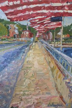 Bridge of Flags in Westport. By artist J. Chillington. Oil on canvas, 36x24. Visit Westport River Gallery in person or online: http://westportrivergallery.com