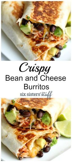 Crispy Bean and Cheese Burritos from Six Sisters Stuff | Healthy Lunch Ideas | Easy Spring Meal Recipe