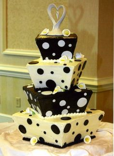 Black And White Polka Dot Trapezoid This was made for my brother's wedding. Not too bad for family cake The cake was baked and. Whimsical Wedding Cakes, Fancy Wedding Cakes, Themed Wedding Cakes, Beautiful Wedding Cakes, Wedding Cake Toppers, Beautiful Cakes, Dream Wedding, Fancy Cakes, Cupcakes