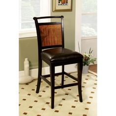 Furniture of America Saldi Acacia Wood and Black Counter Height Chairs (Set of 2) | Overstock.com Shopping - The Best Deals on Dining Chairs