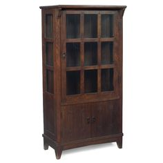 Gustav Stickley china closet, 1902.  Beautiful butterfly joint construction and pierced corbel supports.