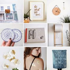 Poppytalk: 9 Weekend Projects to Try 1. DIY Storage for Vinyl  2. Do What You Love Print  3. Minimal Wall Clock  4.  DIY Coasters  5. Stitchable Notebook  6.  DIY Wood Shopping List Roll  7. DIY Hexagon Ring Dishes  8. DIY Gold Tattoos    9.  DIY Fabric Stenciling
