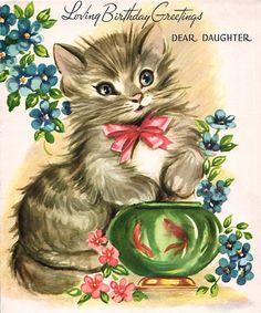 """Loving Birthday Greetings Dear Daughter"" kitten & goldfish"