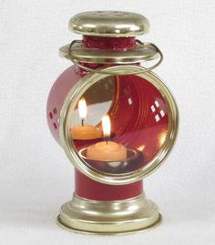 Red Metal Candle Lantern with a Mirrored Backing and Glass Face