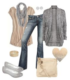 """""""Camel and Silver Glitter"""" by fun-to-wear ❤ liked on Polyvore featuring American Eagle Outfitters, True Religion, Dorothy Perkins, Object Collectors Item, Melissa, Tokyo Jane and Swarovski"""
