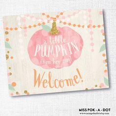 A little pumpkin is on the way welcome sign - fall baby shower - pink pumpkin… Pink Pumpkin Party, Baby In Pumpkin, Little Pumpkin, Baby Shower Fall, Fall Baby, Girl Shower, Pink Pumpkins, Baby Sprinkle, Bebe