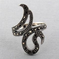 Swirl Marcasite Sterling Silver Ring Cocktail Ring Size 7 Jewelry