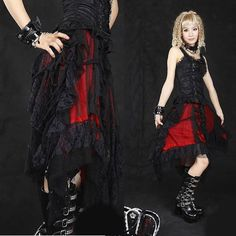 Unique Red Lace Alternative Asymmetrical Gothic Punk Clothes Long Skirt SKU-11406241