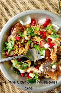 Hot Potatoes, Chickpea and Pomegranate Chaat NaiveCookCooks.com