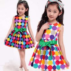 tan1018 Summer 2015 new European high quality kids dress princess sleeveless Polka Dot girls Dress