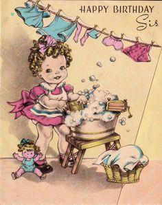 Vintage 1940sHappy Birthday Sis Greetings Card