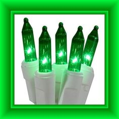 25 volt replacement christmas mini lights 100 green bulbs white base
