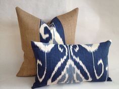 Blue Ikat and Burlap Pillow Cover Set by BouteilleChic on Etsy, $39.00