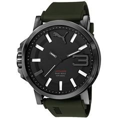 Puma Ultrasize 50 S Adult Water Resistant Analog Watch – Black/Army Green / One Size Fits All Casual Watches, Watches For Men, Wrist Watches, Mens Watch Brands, Black Rubber, Puma, Stainless Steel Case, Luxury Watches, Image Link