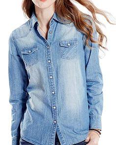 0164de0104 ARRIVE GUIDE Womens Classic Long Sleeve Denim Lapel Button Down Shirts 1 s  >>> Click for Special Deals