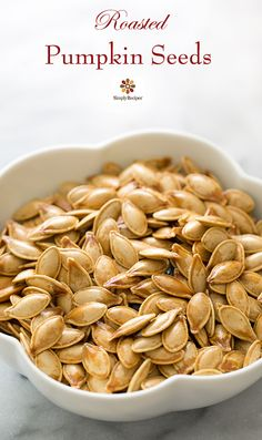 Don't throw away the seeds from the pumpkin! Roast them for an easy, healthy snack. On SimplyRecipes.com #paleo #vegan #glutenfree #lowcarb