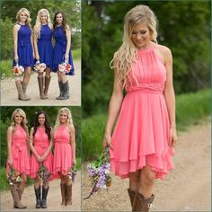 1ec8cccf070c Royal Blue Pink Chiffon Sexy Short Country Bridesmaid Dresses 2017 Halter  Neck Pleated Knee Length Bridesmaids Dress Cheap Prom Party Gowns Bridesmaid  ...