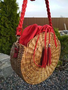 Round wicker bag round basket Boho bag shoulder bag