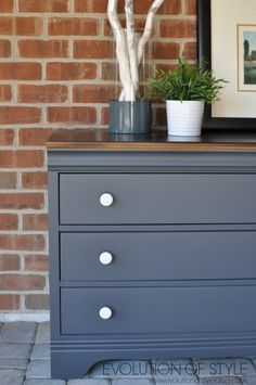 Dresser painted with General Finishes Queenstown Gray.  Amazing finish!  Evolution of Style