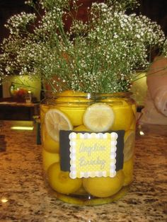 """Lemons decorating yellow and gray baby shower """"Valerie and Varon est. Grey Baby Shower, Baby Shower Fun, Reunion Decorations, Pink Lemonade Party, Sparkle Party, Baby Blessing, Spring Shower, Baby Wedding, Shower Time"""