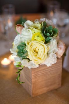 Succulent-flled centerpieces get us every.single.time.     Photography by weheartphotography.com / Floral Design by  Kimberly Orias