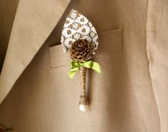 Boutonniere  rustic burlap  lace and pine by Littlewhiteboutique, $10.00