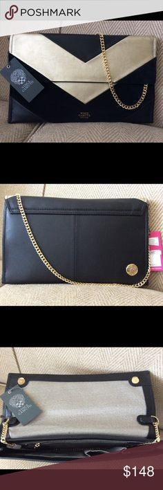 ❗️One day SALE❗️30 % Off Listing Price❗️ Authentic Vince Camuto NWT! Wow! This is not only a beauty, but so versatile! Black leather, gold leather, black suede. Gold chain strap. Use as a clutch or a shoulder bag. Inside: Zipper compartment and 2 sizes of pockets. Magnetic snap closure. Dust cover Vince Camuto Bags Shoulder Bags