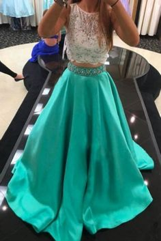 2 Piece Prom Dresses,Sexy Prom Dress,Turquoise Prom Dress,Two Piece Prom Dress/Evening Dress - Mint A-Line Scoop Court Train Lace Prom Dresses Two Piece, Simple Prom Dress, A Line Prom Dresses, Lace Evening Dresses, Cheap Prom Dresses, Dress Lace, Prom Gowns, Lace Dresses, Dress Prom