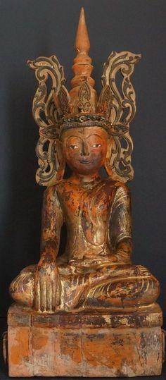 MYANMAR Burmese Shan Tai Yai King Buddha Statue 18th Century