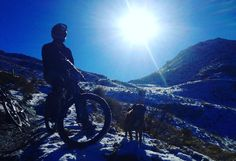 Downhill mountain biking is always more fun in the snow with a dog. #snow #downhillmtb #adventure