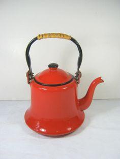 Vintage Enamel Tea Kettle   RED Enamelware   by LavenderGardenCottag