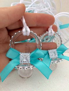 12 teal elegant pacifiers for Baby shower by Marshmallowfavors