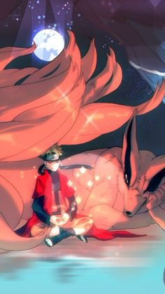 Naruto and Kurama, the Nine-Tailed Fox. #naruto