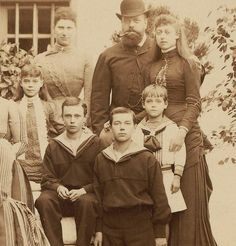 Tsar Alexander III and Tsarevich Nicholas in front with his brother George on the right and Michael on the lower left and others. Grand Prince, Alexandre Iii, Christian Ix, Maria Feodorovna, Queen Victoria Prince Albert, Grand Duchess Olga, Im A Princess, Tsar Nicholas Ii, Princess Alexandra