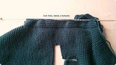 Con hilos, lanas y botones: DIY jersey con capucha para bebé paso a paso (patrón gratis) Baby Kimono, Baby Vest, Baby Knitting Patterns, Off Shoulder Blouse, Style Inspiration, Pullover, Sweaters, Women, Labor