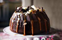 chocolate and salted caramel bundt cake.