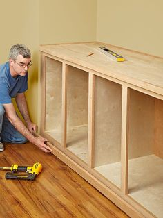Tricks and Tips for Better Built-in Cabinets. Part furniture, part trim carpentry, built-in cabinets require that you fit square projects into an unsquare world where walls bulge, floors tilt, and cei Diy Kitchen Cabinets, Built In Cabinets, How To Build Cabinets, Garage Cabinets Diy, Plywood Cabinets, Cupboards, Armoires Diy, Trim Carpentry, Wood Magazine