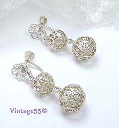Vintage Earrings Filigree beaded 800 silver screw by Vintage55, $20.00